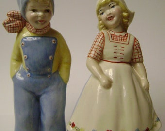 Vintage Dutch Boy and Girl Figurines, 1940's Collectible