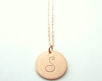 Rose Gold Letter Necklace | Rose Gold Cursive Initial Necklace | Initial Charm Necklace | Rose Gold Filled Letter Charm Jewelry | 14K GF