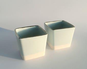 Porcelain tumbler twin set turquoise with platinum lustre rims