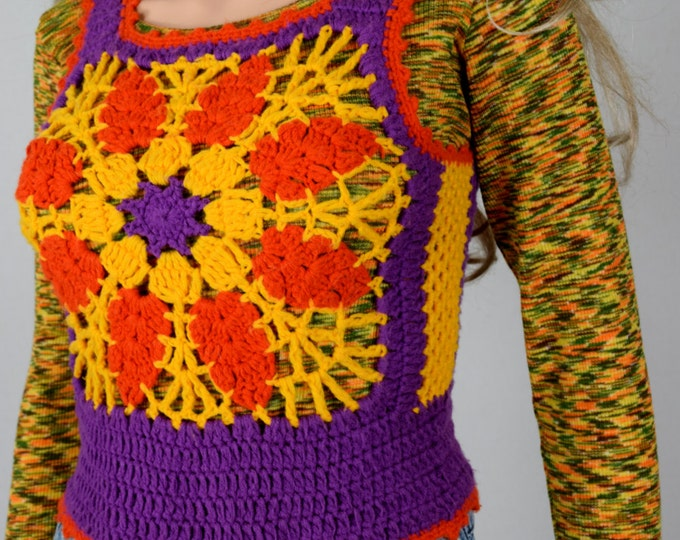 Vintage 1970's Charlie's Girls HiPPiE BoHo Crocheted Color Blocked colorful Woodstock FLoWeR Sweater Vest Size S