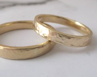 9ct Yellow Gold Wedding Band - Hammered Wedding Band - 9ct Yellow Gold Wedding Band - 3mm