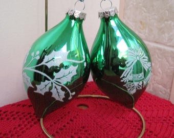 Christmas Ornaments, Stenciled Ornaments, Green Ornaments