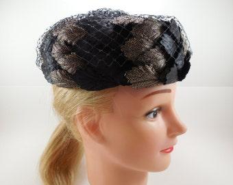 Vintage Black and Gold Pillbox Hat Full Black Full Netting Black Satin and Gold Metallic 1950's 1960's