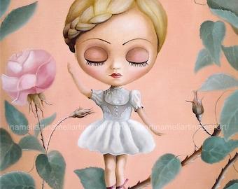 Little Ballerina LIMITED EDITION print Pop Surrealism Fine Art Print big eyed ooak blythe sweet girl portrait girl room decor ballerina art