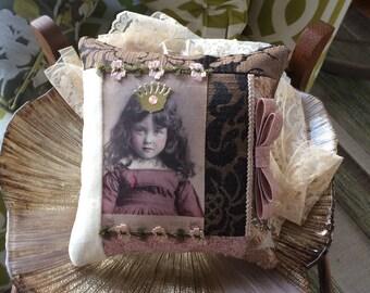 Victorian Purple Pillow - Novelty Pillow - Vintage Girl Pillow - Mauve Pillow