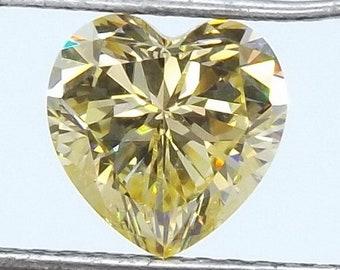 Yellow Russian Canary Cubic zirconia CZ Heart cut 8x8mm. loose gemstones.2pcs.
