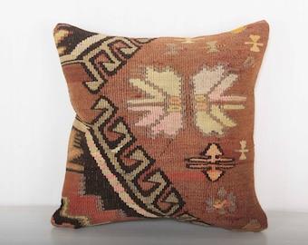 brown pillows, turkish kilim pillow, birthday gift, gift pillow, gift for her, kilim pillow case, throw pillows boho, wool pillows KP10097