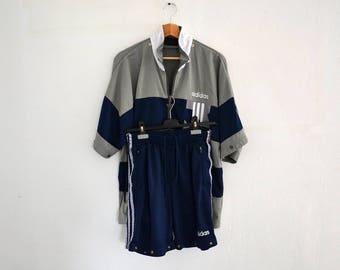 Vintage Adidas Tracksuit / Adibreak hood with press stud / 2 pieces shorts and jacket / size 4