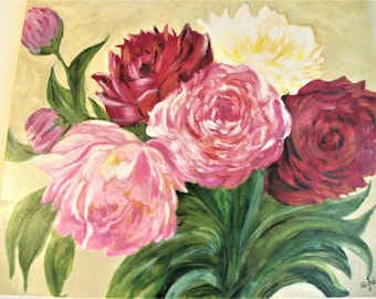 Bouquet of Peonies oil on canvas, peonies,flowers for mommy, flower arranging, picture, pink peony, floral painting, flower