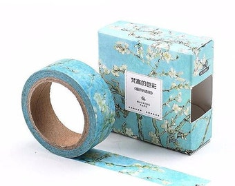 Van Gogh art inspired washi tape apricot flowers  adhesive tape