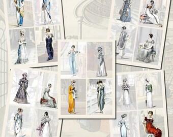 Jane Austen's World--Regency Fashions Printables, Part 1, POSTCARD SIZE, (3.5 x 5 Inch or 12.7 x 8.8 cm), 16 Total