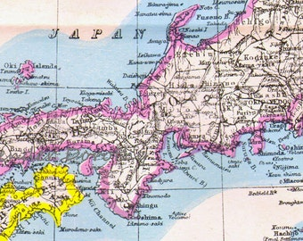 Japan Map Antique Copper Engraving Asian Cartography 1892 Vintage Victorian Geography Art To Frame