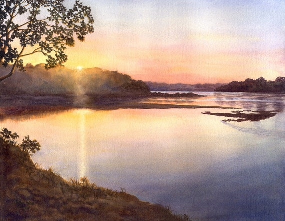 River Sunset Landscape Watercolor Print Of Original Painting