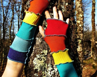 Fingerless gloves/heater arm patchwork of multicolored recycled wool winter!