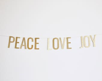 Peace Love Joy Banner - Glitter Christmas Banner, Holiday Party Banner