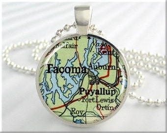 Tacoma Map Pendant, Resin Charm, Tacoma Washington Map Necklace, Gift Under 20, Picture Jewelry, Round Silver, Map Charm 085RS