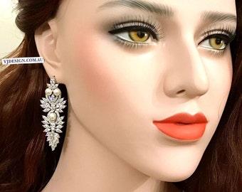 Statement Bridal Earrings, Pearl Wedding Earrings, Cz Bridal Jewelry, Art Nouveau Wedding Jewelry, Cubic Zirconia, Gift for Her, SAMURAIS