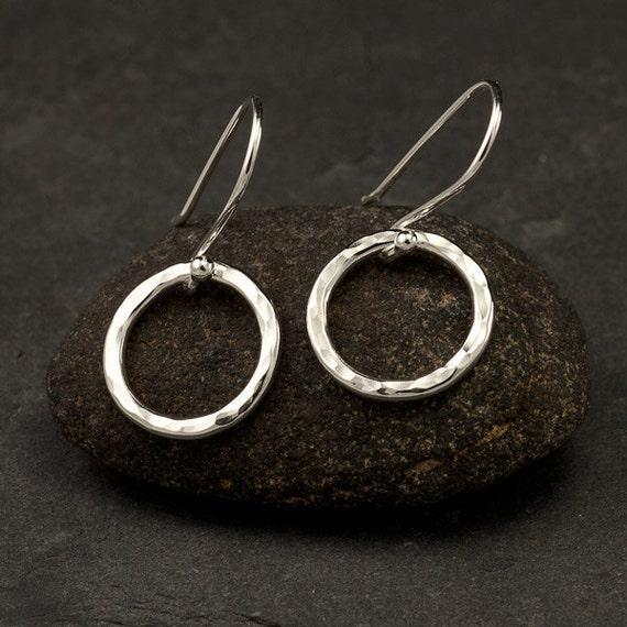 Hammered Silver Earrings- Simple Sterling Silver Earrings- Hammered Silver Hoop Earrings- Small Hoop Earrings