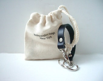 Leather Keychain, Valet Keychain, Black Leather Keychain