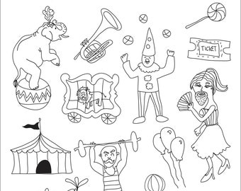 Set of Circus Illustrations - Art Outlines Full Page 29 Original Hand Drawn Outline Illustrations