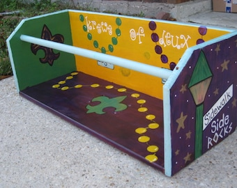 MaRDI GRaS LaDDER SEAT ARTWORK- Gris Gris Art- Stand out in a crowd with a one of a kind, custom, handpainted, fun MaRDI GRaS PARaDE SEAT
