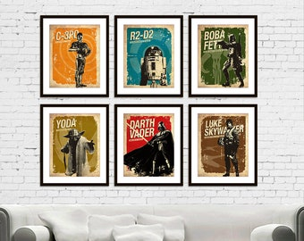 Star Wars - C-3PO - R2-D2 - Darth Vader - Boba Fett - Yoda - Luke Skywalker Vintage Silhouette Poster Print Set of 6