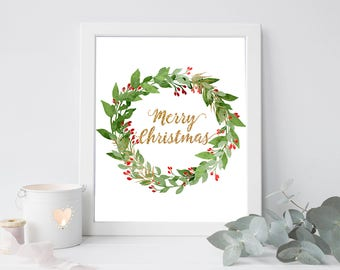 Merry Chistmas digital, merry christmas printable, merry Christmas art print, merry Christmas print, digital Christmas quote, Christmas art