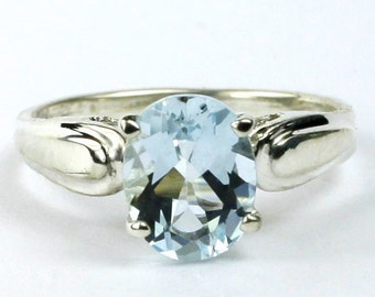 Aquamarine, 925 Sterling Silver Ring, SR058