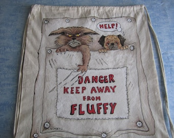 Fluffy the Cat/Hand Painted/Drawstring Backpack