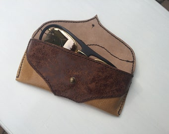 Genuine leather, handmade, handcrafted, unisex, hand stitched, sunglasses soft case