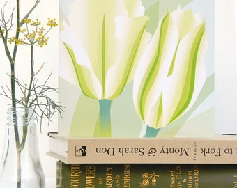 Spring Green Tulip card - birthday, blank, flower, floral card