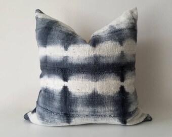 Authentic Mudcloth Pillow, Mali Bogolan, Grey, White, Black, Shibori, Stripes