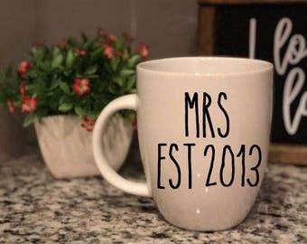 Rae Dunn Inspired Vinyl Decal - Mrs Mr established EST - Coffee Mug - Farmhouse