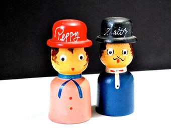 Kitschy Salt & Pepper Shakers His and Hers Wooden