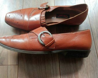 Vintage 1980s Nine West Brown Tan Leather Buckle Loafers Shoes Oxfords Sz 7