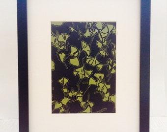 Ginkgo Leaves handmade linocut print 5x7, unframed (moss green) - home decor, wall art, wedding gift, anniversary gift, botanical art