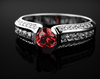 Ruby Engagement Ring Sterling Silver Ruby Ring Silver Engagement Ring Ruby in Sterling Silver Ruby Ring July Birthstone Silver Ring