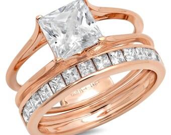 Bridal Halo Sets For Women, Women Bridal Rings Sets, Women Bridal Halos Sets, 3.40 CT Princess Cut Bridal Ring Band Set Solid 14k Rose Gold