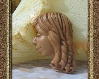 Side face cabochon, clay face cab, half face cab, side view face