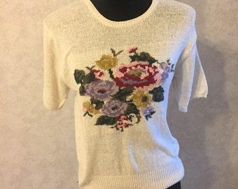 Silk Roses Sweater VTG