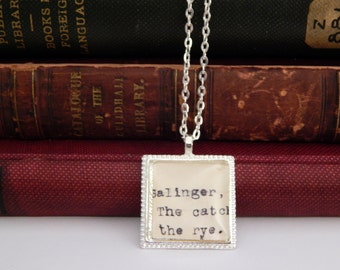 Catcher in the Rye book pendant, JD Salinger, library card jewelry, gift under 25, stocking stuffer, vintage book jewelry, literary necklace