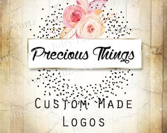 LOGO in Precious Things•Premade Logo•Jewelry Card Logo•Flower Logo•Custom Logo•Shop Logo