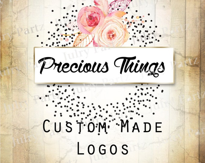 LOGO in Precious Things•Premade Logo•Jewelry Card Logo•Flower Logo•Custom Logo•Shop Logo