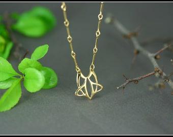 Art nouveau gold necklace, celtic gold necklace, medieval necklace, celtic jewelry, elfic jewelry, handmade, celtic gift, antique necklace