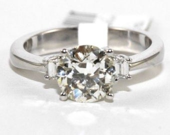 1.61Ct I/SI1 Round Cut Diamond Solitaire Engagement Ring 18k White Gold Sz 7