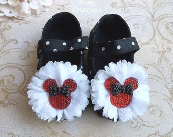 Red and Black Minnie Mouse Birthday Outfit - Minnie Mouse Shoes - Minnie Mouse 1st Birthday Outfit - Minnie Mouse First Birthday Outfit