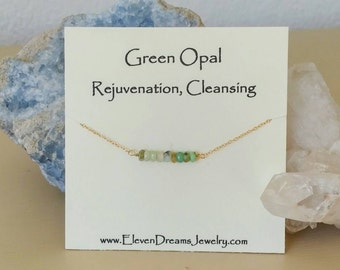 Green opal gemstone bar necklace. GOLD OR SILVER Meaning. Rejuvenation. Cleansing. Gift. green. carded. Spiritual. Meaningful. Friendship
