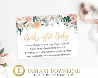 Peach Baby Shower Bring a Book Request, Book Request Card, Printable Baby Shower Insert, Book Card, Bring a Book Insead Of A Card, Floral