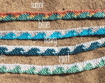 Ocean Wave Friendship Bracelet - Summer Jewelry - Surfer Jewelry - Macrame Bracelet - Wave Bracelet -