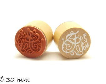 """1 piece stamp """"For You"""" rubber stamp Ø 30 mm round"""